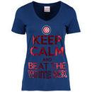 Chicago Cubs 5th & Ocean by New Era Women's Keep Calm Rivalry T-Shirt - Royal