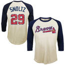 John Smoltz Atlanta Braves Majestic Threads Softhand Cotton Cooperstown 3/4-Sleeve Raglan T-Shirt - Cream