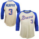 Dale Murphy Atlanta Braves Majestic Threads Softhand Cotton Cooperstown 3/4-Sleeve Raglan T-Shirt - Cream