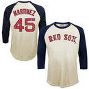 Pedro Martinez Boston Red Sox Majestic Threads Softhand Cotton Cooperstown 3/4-Sleeve Raglan T-Shirt - Cream
