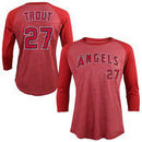 Mike Trout Los Angeles Angels Majestic Threads Tri-Blend 3/4-Sleeve Raglan Name & Number T-Shirt - Red