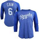 Lorenzo Cain Kansas City Royals Majestic Threads Tri-Blend 3/4-Sleeve Raglan Name & Number T-Shirt - Royal