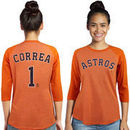Carlos Correa Houston Astros Majestic Threads Women's 3/4-Sleeve Raglan Name & Number T-Shirt - Orange