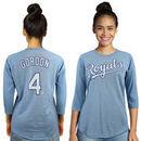 Alex Gordon Kansas City Royals Majestic Threads Women's 3/4-Sleeve Raglan Name & Number T-Shirt - Light Blue