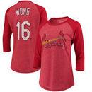Kolten Wong St. Louis Cardinals Majestic Threads Women's 3/4-Sleeve Raglan Name & Number T-Shirt - Red