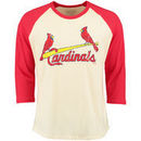 St. Louis Cardinals Majestic Threads Softhand Vintage Cooperstown Three-Quarter Raglan Sleeve T-Shirt - Cream/Red