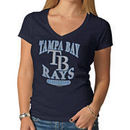 Tampa Bay Rays '47 Women's Logo V-Neck Scrum T-Shirt - Navy