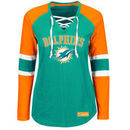 Miami Dolphins Majestic Women's Winning Style Long Sleeve T-Shirt - Aqua/Orange