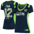 12th Fan Seattle Seahawks Majestic Women's Draft Him Name & Number Fashion T-Shirt - College Navy
