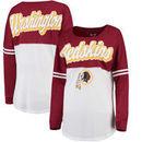 Washington Redskins 5th & Ocean by New Era Women's Athletic Varsity Long Sleeve T-Shirt - Burgundy/White