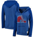 Quebec Nordiques Original Retro Brand Women's Relaxed Notched Pullover Hoodie - Royal