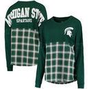Michigan State Spartans Women's Split Plaid Pom Pom Long Sleeve T-Shirt - Green