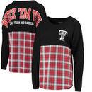 Texas Tech Red Raiders Women's Split Plaid Pom Pom Long Sleeve T-Shirt - Red
