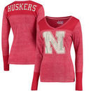Nebraska Cornhuskers Touch by Alyssa Milano Women's Goal Line V-Neck Thermal Long Sleeve T-Shirt - Red