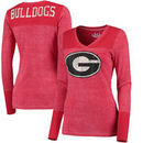 Georgia Bulldogs Touch by Alyssa Milano Women's Goal Line V-Neck Thermal Long Sleeve T-Shirt - Red