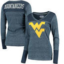 West Virginia Mountaineers Touch by Alyssa Milano Women's Goal Line V-Neck Thermal Long Sleeve T-Shirt - Navy