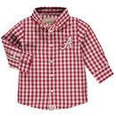 Alabama Crimson Tide Infant Logan Gingham Button-Down Long Sleeve Shirt - Cardinal