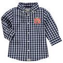 Auburn Tigers Infant Logan Gingham Button-Down Long Sleeve Shirt - Navy