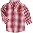 Iowa State Cyclones Infant Logan Gingham Button-Down Long Sleeve Shirt - Cardinal