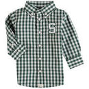 Michigan State Spartans Infant Logan Gingham Button-Down Long Sleeve Shirt - Green