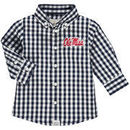 Ole Miss Rebels Infant Logan Gingham Button-Down Long Sleeve Shirt - Navy