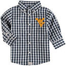 West Virginia Mountaineers Infant Logan Gingham Button-Down Long Sleeve Shirt - Navy