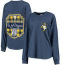 West Virginia Mountaineers Pressbox Women's Buffalo Plaid Printed Pocket Long Sleeve T-Shirt - Navy