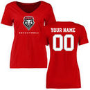 New Mexico Lobos Women's Personalized Basketball T-Shirt - Red