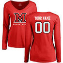 Miami University RedHawks Women's Personalized Basketball Long Sleeve T-Shirt - Red