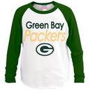 Green Bay Packers Junk Food Youth All American Long Sleeve Raglan T-Shirt - White/Green