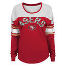San Francisco 49ers Juniors Cool Crew Varsity Long Sleeve T-Shirt - Scarlet