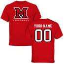 Miami University RedHawks Personalized Football T-Shirt - Red