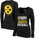 Pittsburgh Steelers Women's Blitz 2 Hit Long Sleeve V-Neck T-Shirt - Black