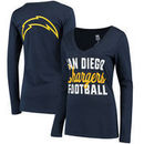 San Diego Chargers Women's Blitz 2 Hit Long Sleeve V-Neck T-Shirt - Navy