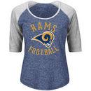 Los Angeles Rams Majestic Women's Plus Act Like a Champion 1/2 Sleeve Raglan T-Shirt - Heathered Navy