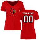 Louisville Cardinals Women's Personalized Football T-Shirt - Red