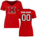 Miami University RedHawks Women's Personalized Football T-Shirt - Red