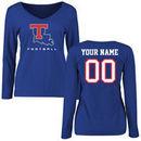 Louisiana Tech Bulldogs Women's Personalized Football Long Sleeve T-Shirt - Royal