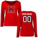 Miami University RedHawks Women's Personalized Football Long Sleeve T-Shirt - Red