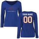 Savannah State Tigers Women's Personalized Football Long Sleeve T-Shirt - Royal