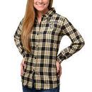 New Orleans Saints Klew Women's Wordmark Flannel Button-Up Long Sleeve Shirt - Black