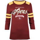San Francisco 49ers New Era Women's Rollout Tri-blend Three-Quarter Sleeve T-Shirt - Scarlet