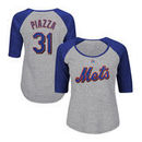 Mike Piazza New York Mets Majestic Women's Plus Size Name & Number Three-Quarter Sleeve Raglan T-Shirt - Gray