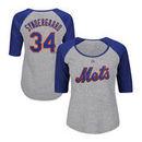 Noah Syndergaard New York Mets Majestic Women's Plus Size Name & Number Three-Quarter Sleeve Raglan T-Shirt - Gray