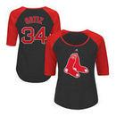 David Ortiz Boston Red Sox Majestic Women's Plus Size Name & Number Three-Quarter Sleeve Raglan T-Shirt - Charcoal