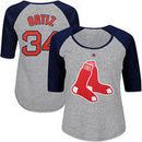 David Ortiz Boston Red Sox Majestic Women's Plus Size Name & Number Three-Quarter Sleeve Raglan T-Shirt - Gray