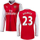 Danny Welbeck Arsenal Puma 2016 Home Replica Long Sleeve Jersey - Red