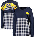 Cal Bears Women's Split Plaid Pom Pom Long Sleeve T-Shirt - Navy