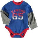 Kansas Jayhawks Colosseum Newborn & Infant Fly By Layered Long Sleeve Bodysuit - Royal