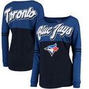 Toronto Blue Jays 5th & Ocean by New Era Women's MLB Baby Jersey Varsity Crew Boyfriend Long Sleeve T-Shirt - Navy
